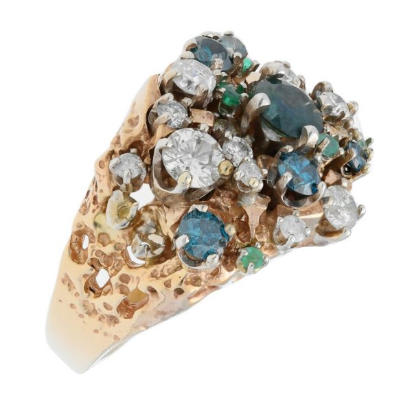 14k Yellow Gold Diamonds Multi Color Gem Cluster Mens Ring Jewelry Size 1125 113682847836 3