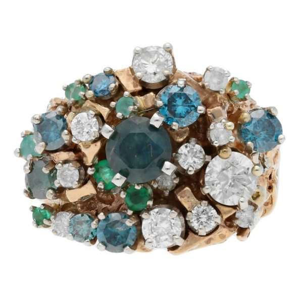 14k Yellow Gold Diamonds Multi Color Gem Cluster Mens Ring Jewelry Size 1125 113682847836 4