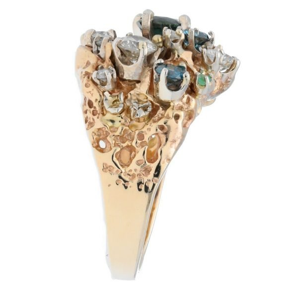 14k Yellow Gold Diamonds Multi Color Gem Cluster Mens Ring Jewelry Size 1125 113682847836 5