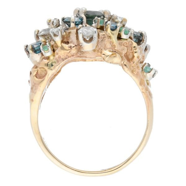 14k Yellow Gold Diamonds Multi Color Gem Cluster Mens Ring Jewelry Size 1125 113682847836 6