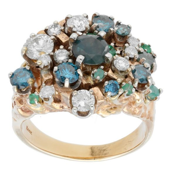 14k Yellow Gold Diamonds Multi Color Gem Cluster Mens Ring Jewelry Size 1125 113682847836