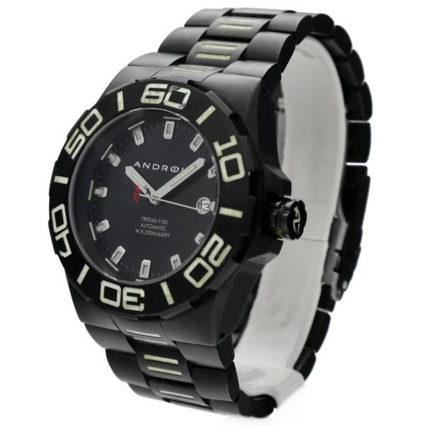 Android AD671 Tritium T100 Black PVD Stainless Steel 48mm Automatic Mens Watch 124466370556 2