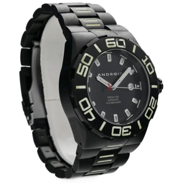 Android AD671 Tritium T100 Black PVD Stainless Steel 48mm Automatic Mens Watch 124466370556 5