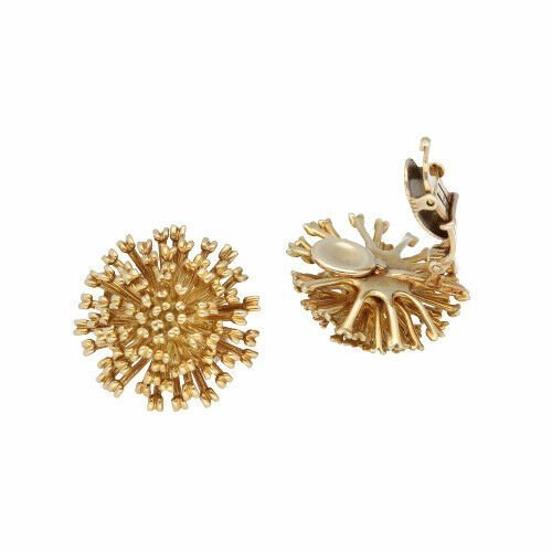 Authentic TiffanyCo 750 18k Yellow Gold Flower 23mm Clip Earrings 114190372256 4