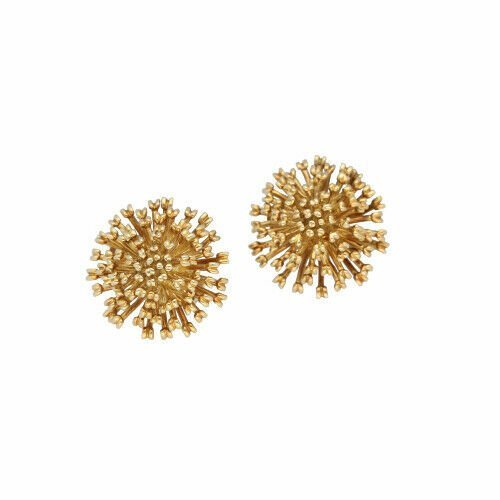 Authentic TiffanyCo 750 18k Yellow Gold Flower 23mm Clip Earrings 114190372256
