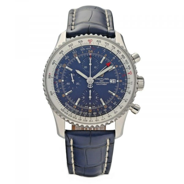 Breitling A24322 Navitimer Blue Dial 46mm Chrono Leather Automatic Mens Watch 114636551896