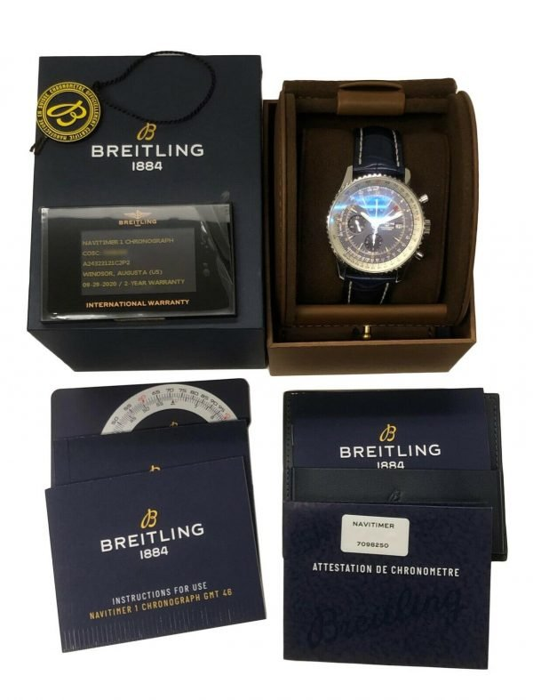 Breitling A24322 Navitimer Blue Dial 46mm Chrono Leather Automatic Mens Watch 114636551896 8