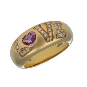 Chopard 822900 11 Love 18k Yellow Gold 750 Diamonds Womens Ring Size 725 Band 124521253036