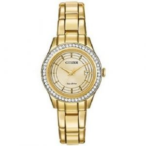 Citizen Eco Drive FE1122 53P Champagne Dial Gold Tone Crystal Bezel Womens Watch 122068259566