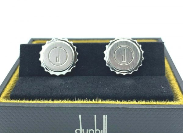Dunhill Round Gear Engraved Dunhill Logo Stainless Steel Mens Cufflinks Gift 123797960726 3