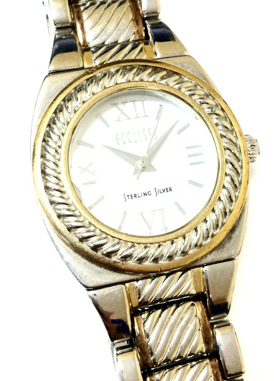 Ecclisi 33035 Two Tone Sterling Silver White Dial Womens Dress Watch 121425924066 2