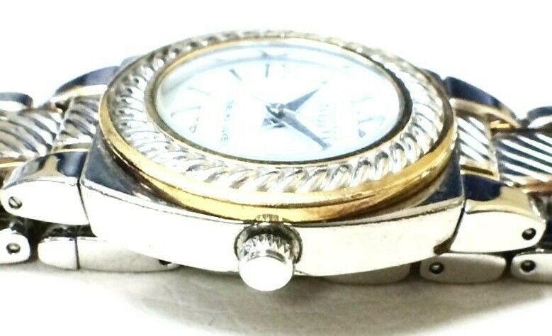 Ecclisi 33035 Two Tone Sterling Silver White Dial Womens Dress Watch 121425924066 3