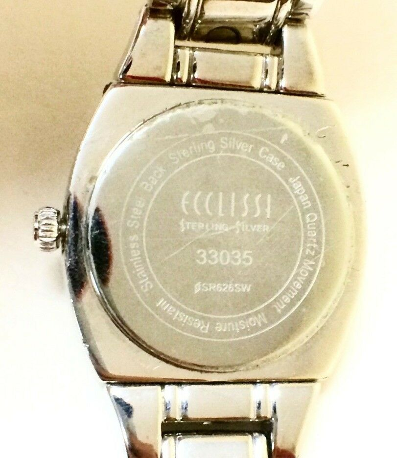 Ecclisi 33035 Two Tone Sterling Silver White Dial Womens Dress Watch 121425924066 5