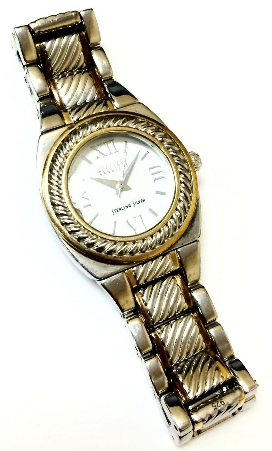 Ecclisi 33035 Two Tone Sterling Silver White Dial Womens Dress Watch 121425924066