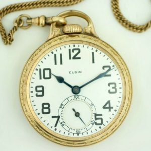 Elgin BW Raymond 16 Size 21 Jewels Open Face Lever Set GF Pocket Watch wChain 113678781286