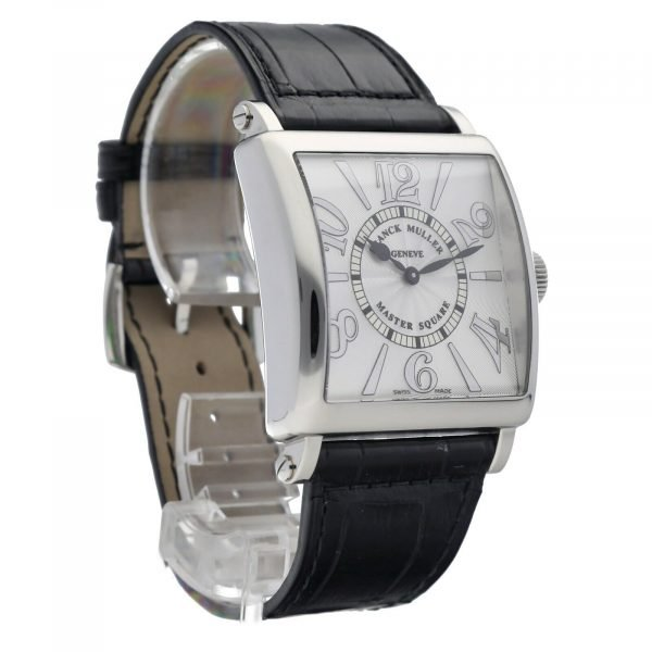 Franck Muller 6002 Master Square Relief Steel Leather Swiss Quartz Womens Watch 114578063266 5