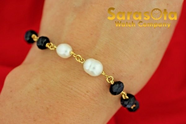 Gold Plated Silver Blue Gold Stone Pearls 75 Ladies Flexible Bracelet 131138177866 2