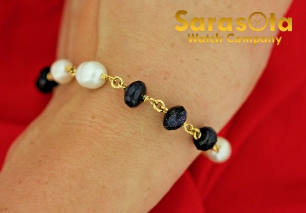 Gold Plated Silver Blue Gold Stone Pearls 75 Ladies Flexible Bracelet 131138177866 3