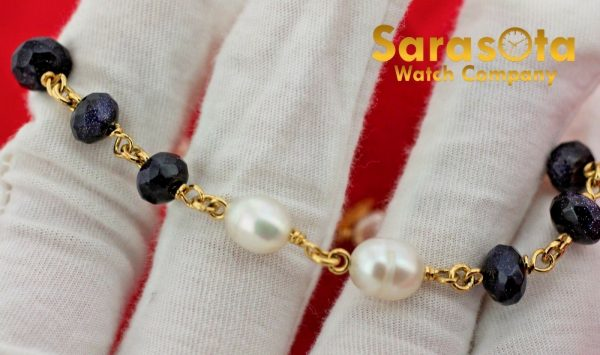 Gold Plated Silver Blue Gold Stone Pearls 75 Ladies Flexible Bracelet 131138177866 4