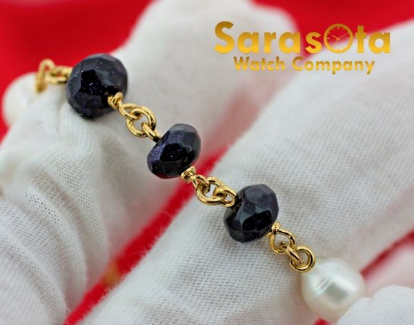 Gold Plated Silver Blue Gold Stone Pearls 75 Ladies Flexible Bracelet 131138177866 5