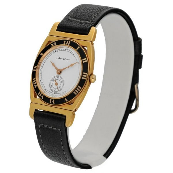 Hamilton 18k Gold Electroplated Round 30mm White Leather Mechanical Wrist Watch 124304204536 2