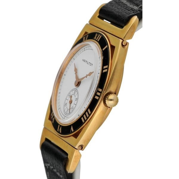 Hamilton 18k Gold Electroplated Round 30mm White Leather Mechanical Wrist Watch 124304204536 3