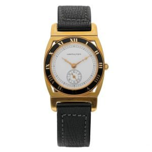 Hamilton 18k Gold Electroplated Round 30mm White Leather Mechanical Wrist Watch 124304204536