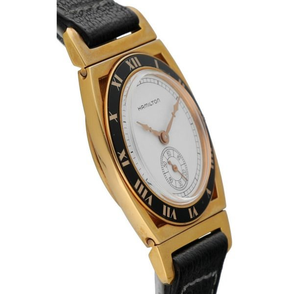 Hamilton 18k Gold Electroplated Round 30mm White Leather Mechanical Wrist Watch 124304204536 4