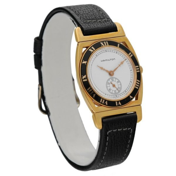 Hamilton 18k Gold Electroplated Round 30mm White Leather Mechanical Wrist Watch 124304204536 5