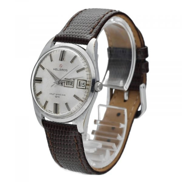 Helbros Day Date Stainless Steel 33mm Brown Leather Automatic Wrist Watch 114572676646 2