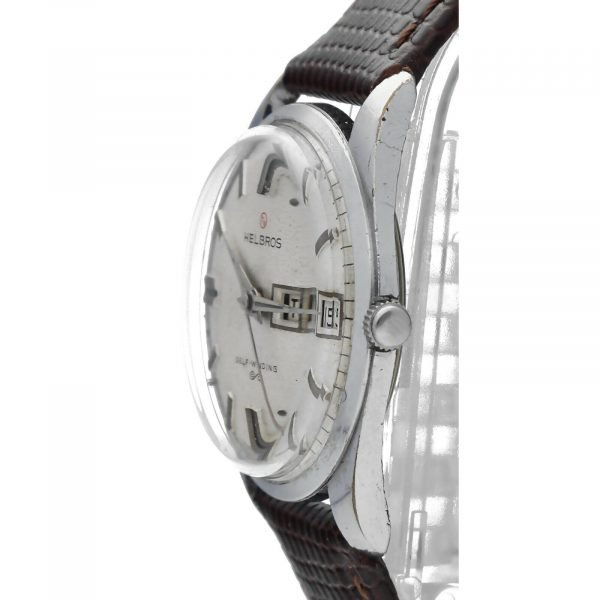 Helbros Day Date Stainless Steel 33mm Brown Leather Automatic Wrist Watch 114572676646 3