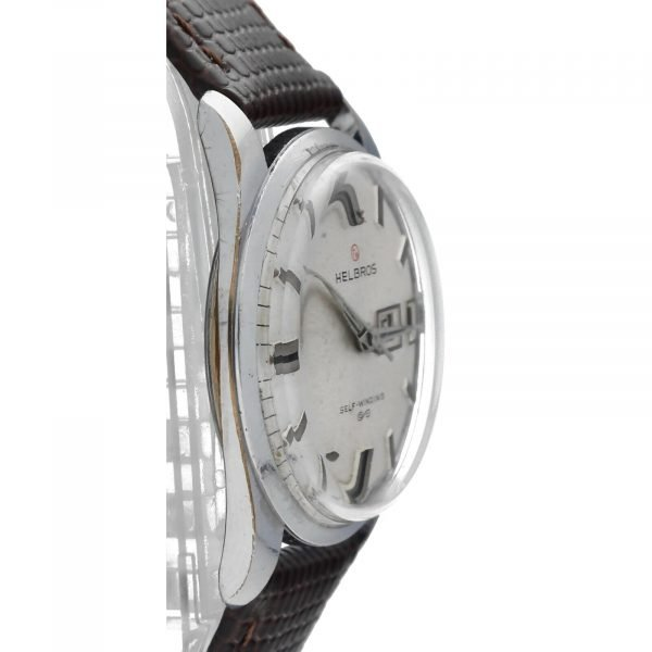 Helbros Day Date Stainless Steel 33mm Brown Leather Automatic Wrist Watch 114572676646 4
