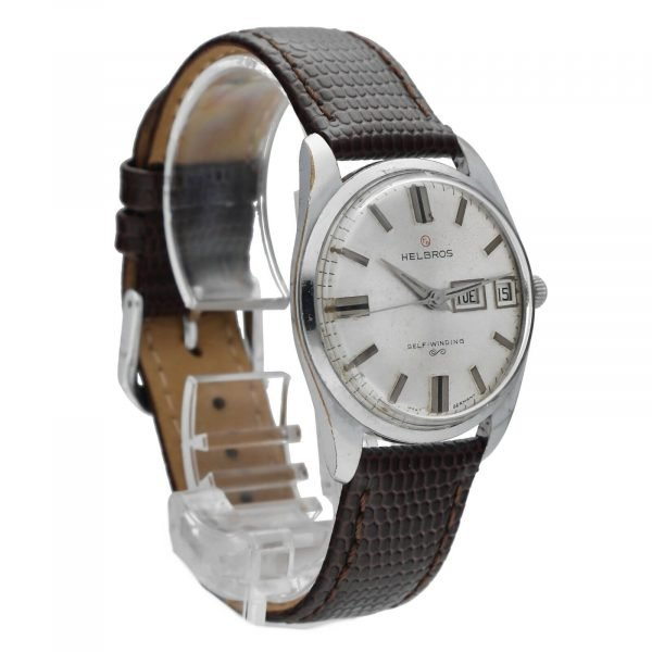 Helbros Day Date Stainless Steel 33mm Brown Leather Automatic Wrist Watch 114572676646 5
