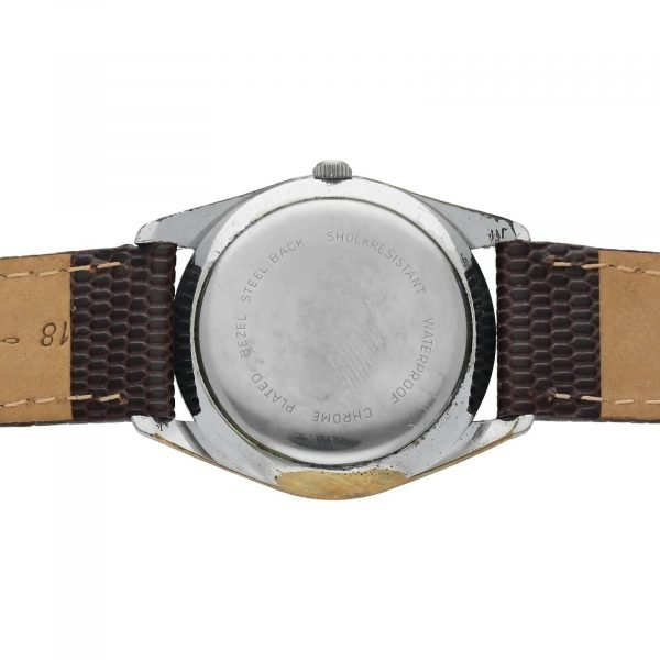 Helbros Day Date Stainless Steel 33mm Brown Leather Automatic Wrist Watch 114572676646 8