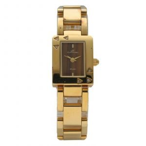 Klaus Kobec Rectangle Gold Plated Steel Wooden Dial Quartz Womens Watch 124554986046