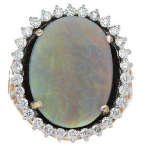 14k Yellow Gold Oval Opal 188 mm Diamonds Halo Mens Ring Jewelry Size 1125 132985566337