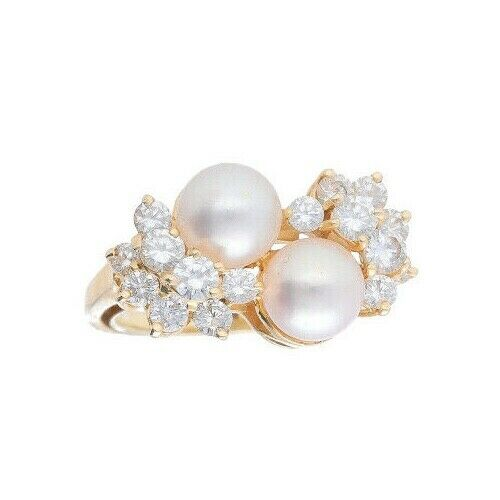 14k Yellow Gold Pearls 15Ct Round Diamond Womens Cluster Ring Size 525 133334081367 2