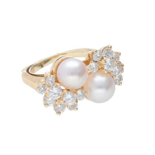 14k Yellow Gold Pearls 15Ct Round Diamond Womens Cluster Ring Size 525 133334081367 3