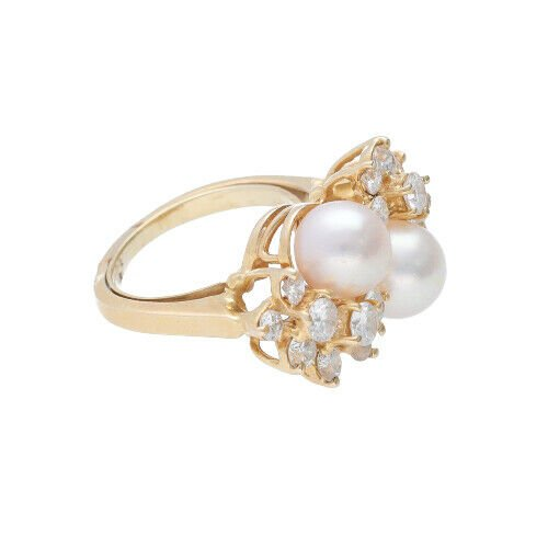 14k Yellow Gold Pearls 15Ct Round Diamond Womens Cluster Ring Size 525 133334081367 4