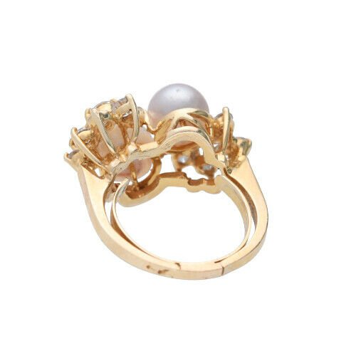 14k Yellow Gold Pearls 15Ct Round Diamond Womens Cluster Ring Size 525 133334081367 5