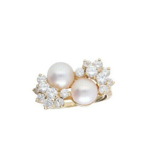 14k Yellow Gold Pearls 15Ct Round Diamond Womens Cluster Ring Size 525 133334081367 6