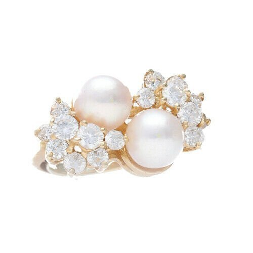 14k Yellow Gold Pearls 15Ct Round Diamond Womens Cluster Ring Size 525 133334081367