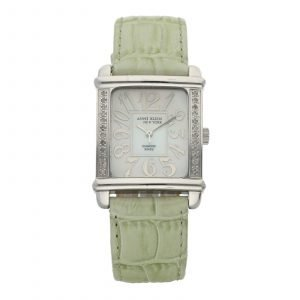 Anne Klein Diamond Case Rectangle Case MOP Green Leather Quartz Womens Watch 114680750707