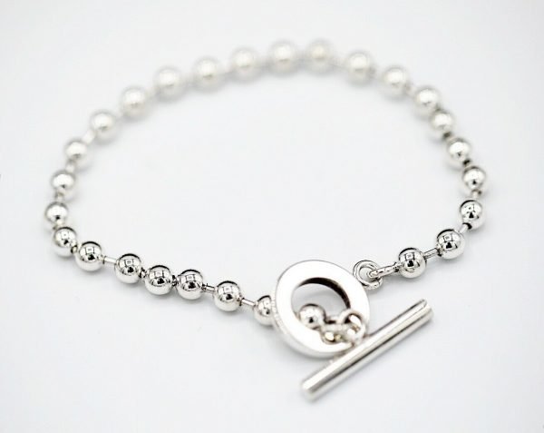 Authentic GUCCI Sterling Silver 925 Ball Chain 21 Size Womens Bracelet 85 133091018837 4