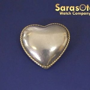Authentic TiffanyCo Sterling Silver18K Gold Trim Cable Rope Heart Brooch 131977043167