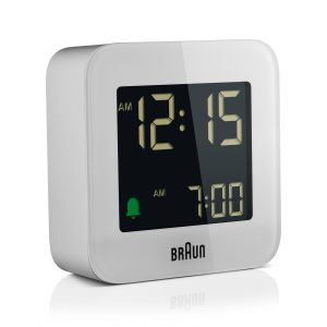 Braun BN BC08W White Digital LCD Travel Quartz Alarm Clock Square 29 114691800317