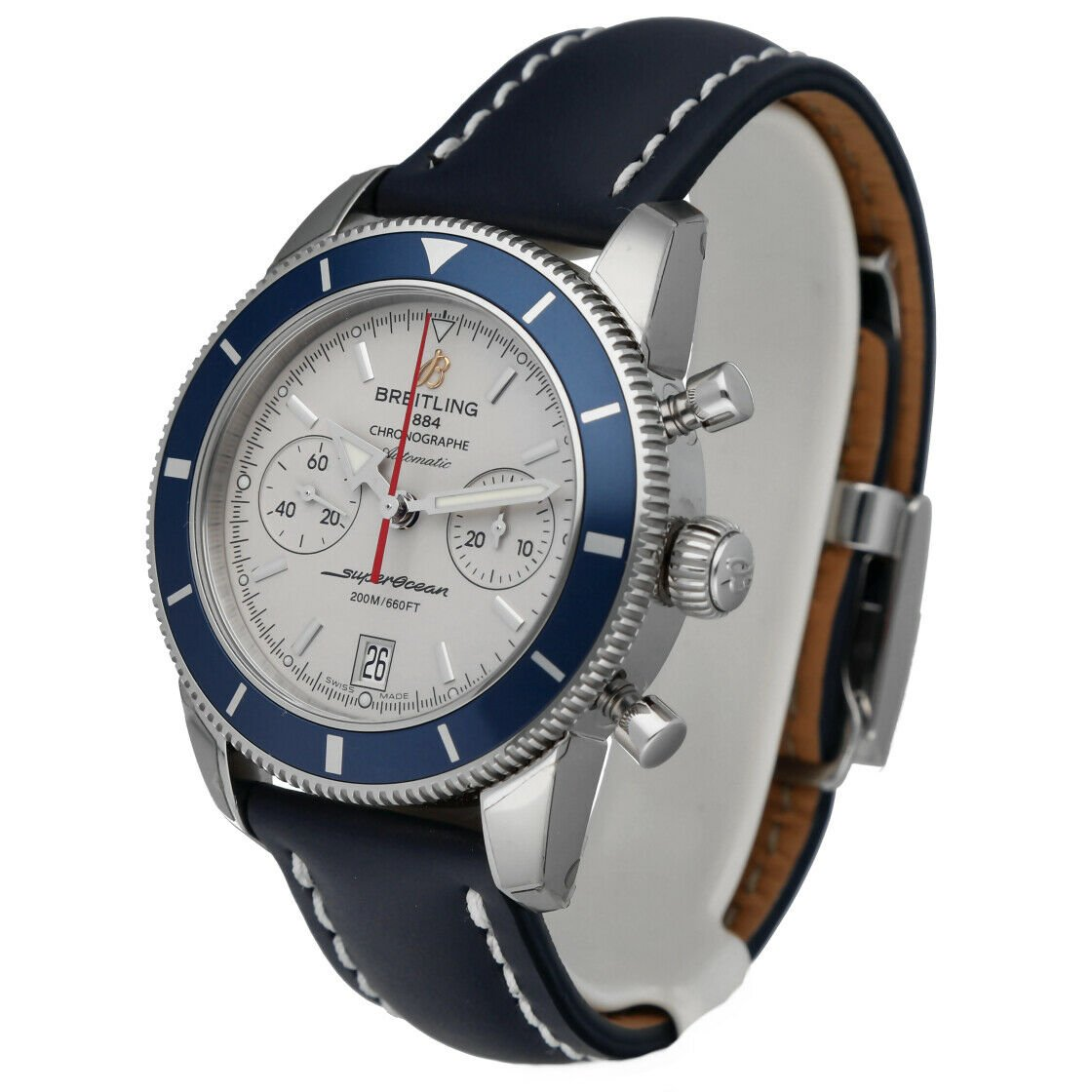 Breitling A23370 Superocean Heritage 44 Silver Chrono Leather Auto Mens Watch 114428920667 2