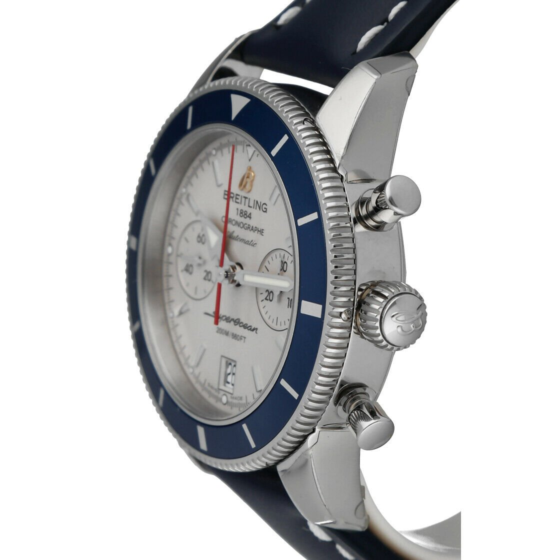 Breitling A23370 Superocean Heritage 44 Silver Chrono Leather Auto Mens Watch 114428920667 3