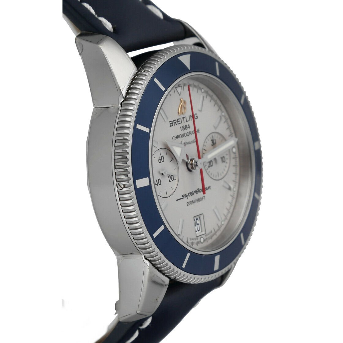 Breitling A23370 Superocean Heritage 44 Silver Chrono Leather Auto Mens Watch 114428920667 4