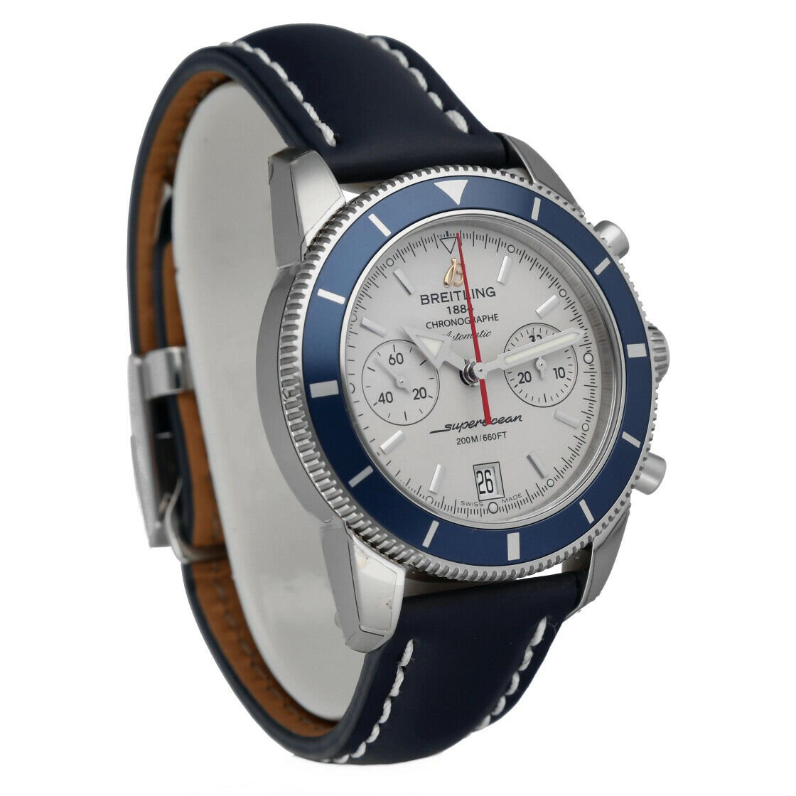Breitling A23370 Superocean Heritage 44 Silver Chrono Leather Auto Mens Watch 114428920667 5
